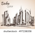 Stock vector doha qatar city view sketch isolated on white background 497238358