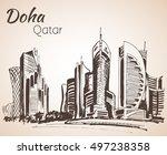 doha  qatar city view sketch.... | Shutterstock .eps vector #497238358
