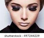 closeup woman  face with long... | Shutterstock . vector #497244229