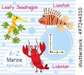 cute children sea alphabet... | Shutterstock .eps vector #497244310