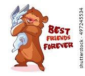 cute bear hugs rabbit. best... | Shutterstock .eps vector #497245534