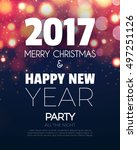 christmas party poster. happy... | Shutterstock .eps vector #497251126