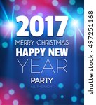 christmas party poster. happy... | Shutterstock .eps vector #497251168