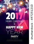 christmas party poster. happy... | Shutterstock .eps vector #497251210