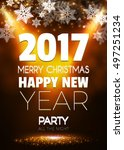 christmas party poster. happy... | Shutterstock .eps vector #497251234
