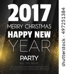 christmas party poster. happy... | Shutterstock .eps vector #497251384