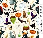halloween holiday cartoon... | Shutterstock .eps vector #497265553