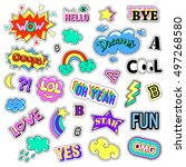 pop art set with fashion patch... | Shutterstock .eps vector #497268580