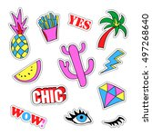 pop art set with fashion patch... | Shutterstock .eps vector #497268640