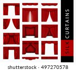 big set of red silk curtains... | Shutterstock .eps vector #497270578
