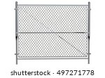 metal wire fence   isolated a... | Shutterstock . vector #497271778