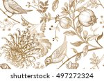 vintage japanese chrysanthemum... | Shutterstock .eps vector #497272324