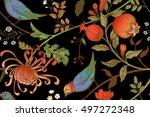 vintage japanese chrysanthemum... | Shutterstock .eps vector #497272348
