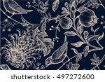vintage japanese chrysanthemum... | Shutterstock .eps vector #497272600