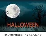 halloween wording on plank... | Shutterstock .eps vector #497273143