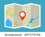 map with navigation. finding... | Shutterstock .eps vector #497273734