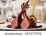 lamb rack with limoncello glaze ... | Shutterstock . vector #497277970