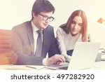 businessman and his colleague... | Shutterstock . vector #497282920