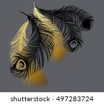 black and gold stylized... | Shutterstock .eps vector #497283724