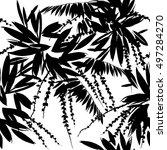 tropical plants. seamless... | Shutterstock . vector #497284270