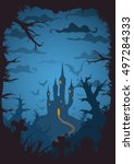 blue colored vector halloween... | Shutterstock .eps vector #497284333