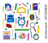 set of school objects. vector... | Shutterstock .eps vector #497290819