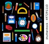 set of school objects over... | Shutterstock .eps vector #497291110