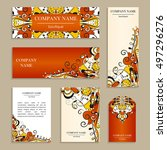 set of business cards. template ... | Shutterstock .eps vector #497296276