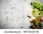 white wine with corks. on the... | Shutterstock . vector #497303578