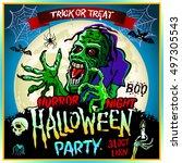 halloween party horror night...   Shutterstock .eps vector #497305543