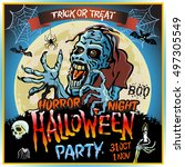 halloween party horror night... | Shutterstock .eps vector #497305549