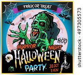 halloween party horror night...   Shutterstock .eps vector #497305573