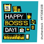 happy boss's day   16 october ... | Shutterstock .eps vector #497308108