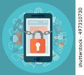 flat illustration of security...   Shutterstock .eps vector #497310730