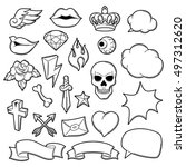 set of retro tattoo symbols.... | Shutterstock .eps vector #497312620