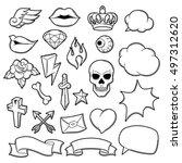 set of retro tattoo symbols.... | Shutterstock .eps vector #497312620