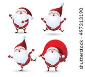 collection of christmas santa... | Shutterstock .eps vector #497313190