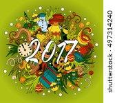 cartoon vector doodles hand... | Shutterstock .eps vector #497314240