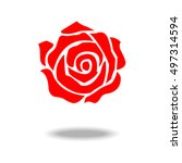 red rose icon. | Shutterstock .eps vector #497314594