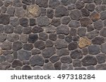 wall made of lava stones on... | Shutterstock . vector #497318284