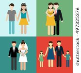 family flat icons set with... | Shutterstock .eps vector #497325376