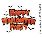 happy halloween text banner...   Shutterstock .eps vector #497326954