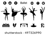 Ballet Icon Set With Ballet...