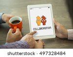 collaboration concept | Shutterstock . vector #497328484