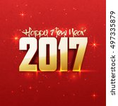 creative 3d text 2017 on red... | Shutterstock .eps vector #497335879