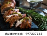 roast pork tenderloin with... | Shutterstock . vector #497337163