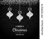 silver hanging christmas... | Shutterstock .eps vector #497339674
