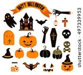 vector clipart set. spooky... | Shutterstock .eps vector #497339953