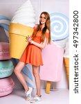 funny fashion portrait of... | Shutterstock . vector #497342800