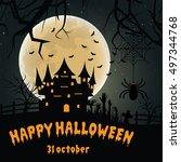 halloween night background with ... | Shutterstock .eps vector #497344768